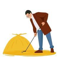 um jovem remove o feno com um ancinho. conceito de colheita vetor