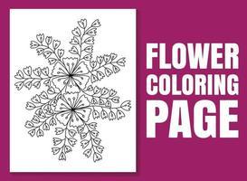 página para colorir de flores para adultos e crianças. ilustração desenhada à mão vetor
