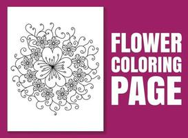 página para colorir de flores para adultos e crianças. livro para colorir de flores. vetor