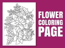 página para colorir de flores. livro para colorir de flores. vetor