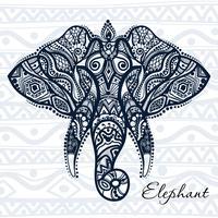 Vector desenho elefante com padrões étnicos da Índia.
