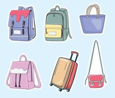 coleção de ilustrações coloridas de bolsas desenhadas à mão vetor