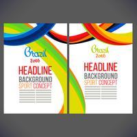 Folheto de brochura com linhas coloridas e ondas vetor