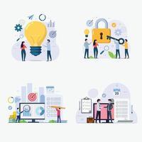 conjunto de ilustração vetorial de conceito de design de gestão empresarial vetor