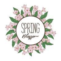 mão desenhada quadro de flor de primavera. ilustração vetorial em estilo de desenho vetor