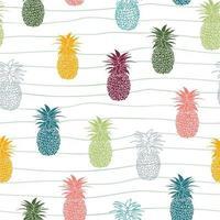 padrão sem emenda de frutas tropicais coloridas de abacaxi desenhado à mão vetor