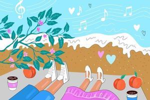 casal apaixonado encontra-se no cobertor à beira-mar. encontro romântico na praia vetor