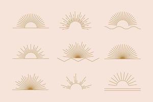 conjunto de sol de vetor de ícones e símbolos boho lineares, design de logotipo de sol