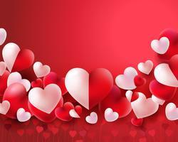 Fundo de dia dos namorados com balões vermelhos e brancos conceito de corações 3d vetor