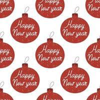 padrão sem emenda de enfeite de árvore de natal letras de feliz ano novo vetor