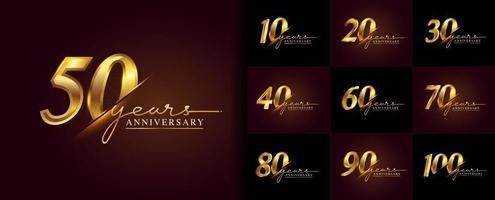 conjunto de design de logotipo de aniversário com escrita à mão na cor dourada vetor