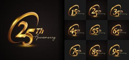 conjunto de design de logotipo de aniversário com anel dourado vetor