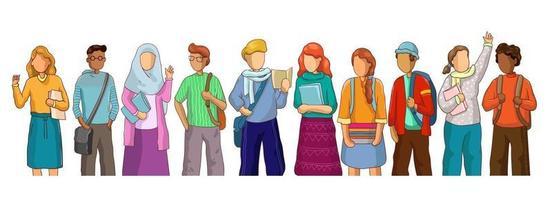 grupo de estudante multiétnico ilustração vetorial plana vetor