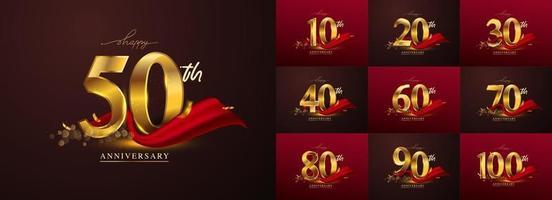 conjunto de logotipo de aniversário e fita vermelha. vetor