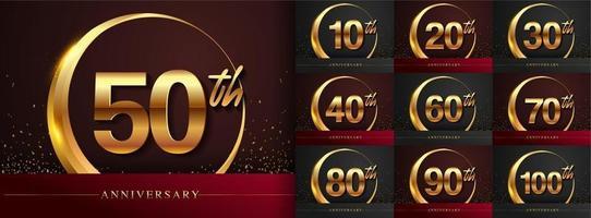 conjunto de design de logotipo de aniversário vetor