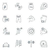 ícones da linha de atletismo pesado vetor