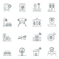ícones de linha de cidade inteligente vetor