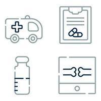 ícones de linha médica e de saúde vetor