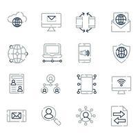 ícones de rede e linha de comunicação vetor