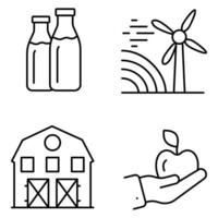 agricultura agricultura ícones linha fina vetor