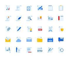 conjunto de ícones de documentos de escritório e gerenciamento vetor