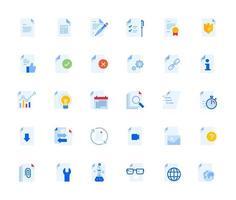 conjunto de ícones de documento vetor