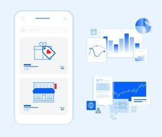 design de modelo de banners e elementos de smartphone vetor