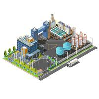 Área industrial isométrica, planta, hidroelétrico, construção do sistema de purificação de água vetor