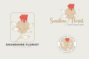 desenho de logotipo de flor rosa desenhada à mão vetor