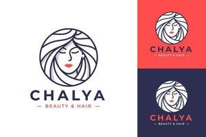 design de logotipo de linha de arte de beleza feminina vetor