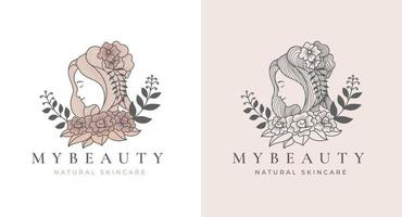 design de logotipo floral feminino de arte de linha vintage vetor