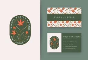 design de logotipo floral minimalista com cartão de visita vetor