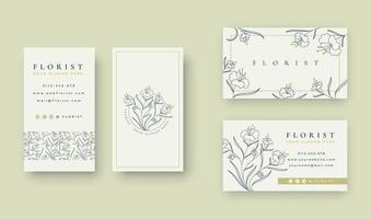 logotipo floral mínimo com modelo de cartão de visita vetor