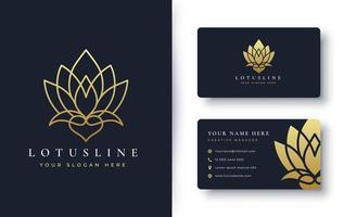 logotipo da flor de lótus e design de cartão de visita vetor