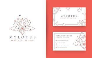 design de logotipo abstrato de cristal de pedra de lótus vetor