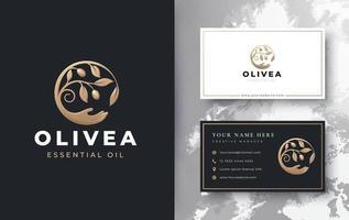 ramo de azeite com design de logotipo de mão para cima vetor