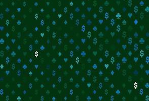 layout de vetor de azul escuro e verde com elementos de cartas.