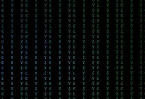 fundo vector azul escuro e verde com eur, usd, gbp, jpy.