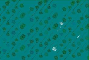 padrão de doodle de vetor azul e verde claro.