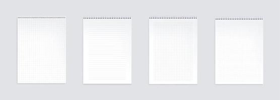 folhas de caderno, páginas em branco com linhas vetor
