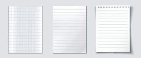 coleção de folhas de papel de formato A4. vetor