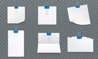 folhas de papel branco com clipes de pasta azuis vetor