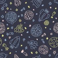 padrão noturno sem costura de foguetes e planetas no espaço rabiscos vetor