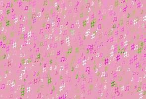pano de fundo rosa claro, verde vetor com notas musicais.