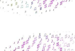 luz multicolor, padrão de vetor de arco-íris com elementos de música.