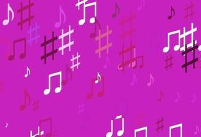 pano de fundo de vetor rosa claro com notas musicais.