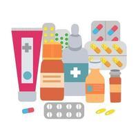 um conjunto de comprimidos de medicamentos em blisters, cápsulas vetor