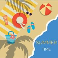 pôster de verão brilhante com acessórios de praia, relaxe vetor