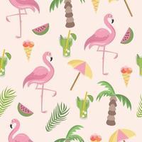 flamingo de padrão uniforme e acessórios de praia vetor