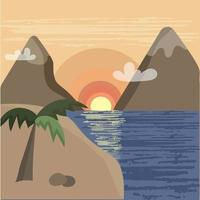 pôr do sol sobre o mar. paisagem montanhosa vetor